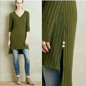 Anthropologie Deletta Ribbed Green Tunic Sweater